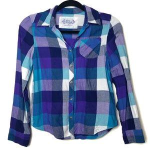 Mudd Girl's Plaid Button Front Shirt